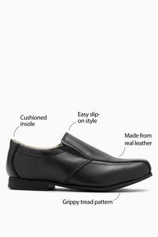 Black Standard Fit (F) Leather Formal Loafers