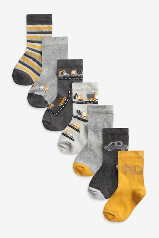 Monochrome 7 Pack Cotton Rich Transport Socks