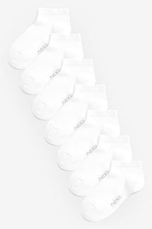 White 7 Pack Cotton Rich Trainer Socks