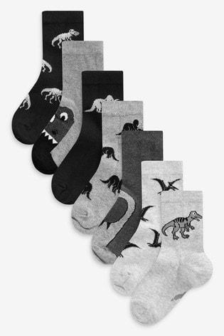 Monochrome 7 Pack Cotton Rich Dinosaur Socks