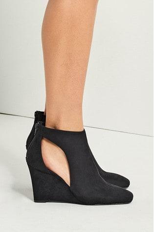 Black Slingback Closed Toe Shoe Boots