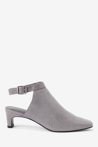 Grey Slingback Closed Toe Shoe Boots
