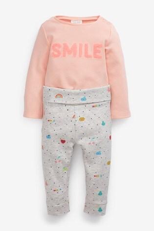 Pink/Grey 2 Piece Slogan Body And Leggings Set (0mths-2yrs)