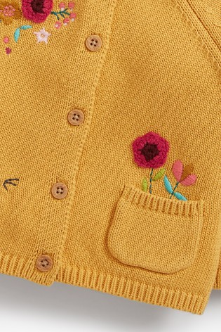Ochre Floral Embroidered Cardigan (0mths-2yrs)