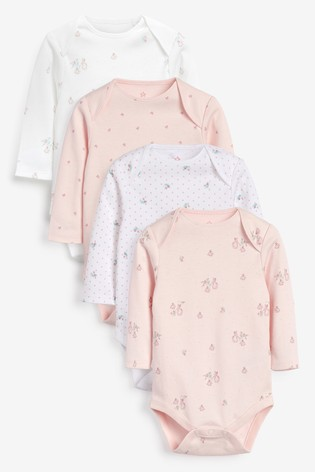 Pink 4 Pack Bunny Long Sleeve Bodysuits (0mths-3yrs)