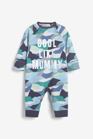 Blue Cool Like Mummy Camo Footless Zip Sleepsuit (0mths-3yrs)