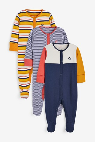 3 Pack Colourblock Stripe Sleepsuits (0mths-2yrs)