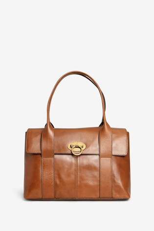 Tan Leather Collection Tote Bag
