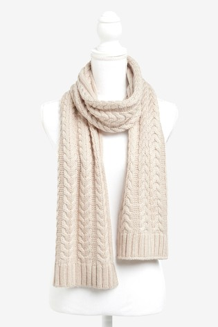 Oatmeal Sparkle Knitted Cable Scarf