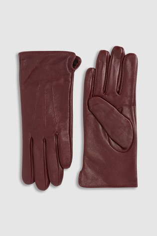 Berry Leather Gloves