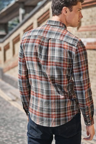 Grey/Brown Regular Fit Brushed Flannel Check Long Sleeve Shirt