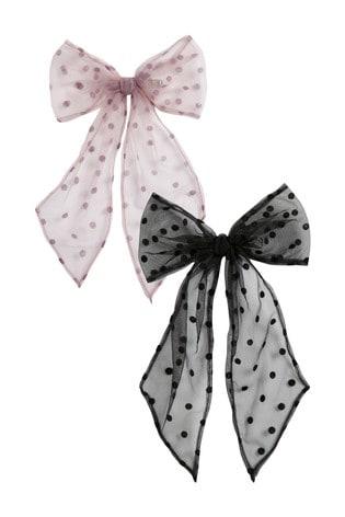 Polka Dot Organza Hair Bows Two Pack