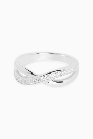 Sterling Silver Cubic Zirconia Pave Band Ring