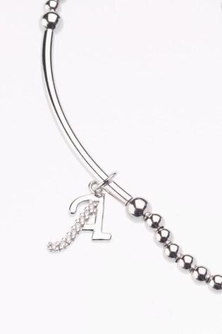 Sterling Silver Beaded Initial Bracelet