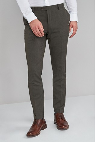 Green Skinny Fit Textured Trousers