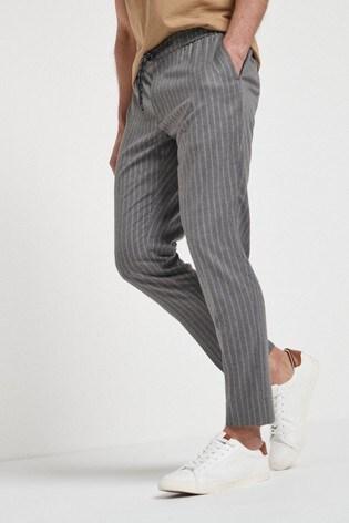 Grey Slim Fit Striped Formal Joggers