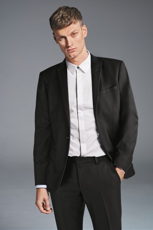 Black Tailored Fit Textured Suit: Jacket