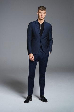 Blue Slim Fit Textured Suit: Jacket