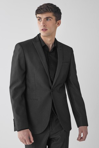 Charcoal Slim Fit Textured Suit: Jacket