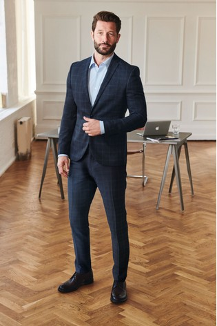 Blue Slim Fit Check Suit: Jacket