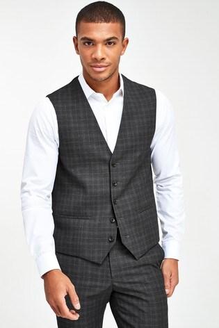 Grey Check Suit: Waistcoat