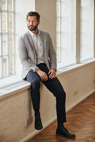 Light Grey Slim Fit Check Blazer