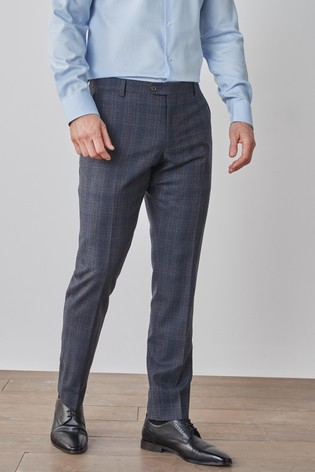 Navy Slim Fit Signature Check Suit: Trousers