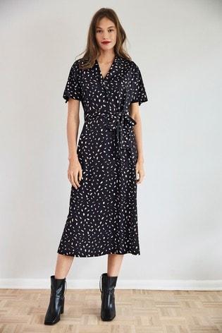 Black Abstract Print Shirt Dress