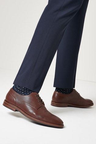 Brown Motion Flex Leather Derby Shoes