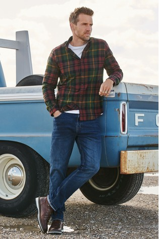 Green Regular Fit Brushed Flannel Check Long Sleeve Shirt