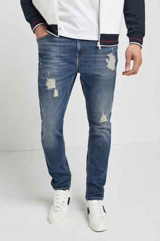 Mid Blue Skinny Fit Ripped Jeans With Stretch