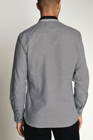 Black/White Slim Fit Stretch Oxford Tipped Collar Long Sleeve Shirt