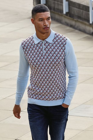Blue Geo Knitted Zip Neck Polo