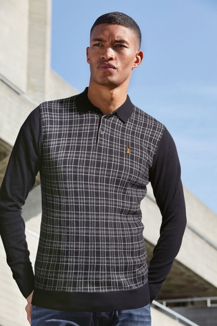Navy Check Knitted Polo Shirt