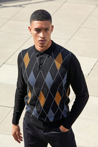 Black Check Knitted Polo