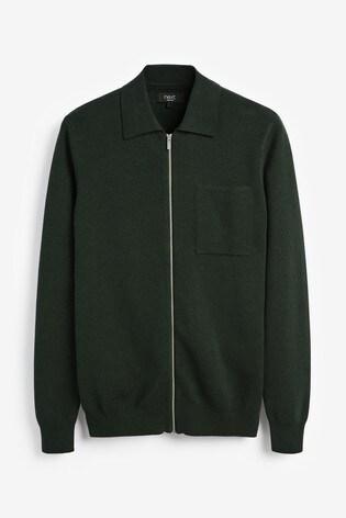 Green Kniited Zip Through Polo