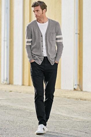 Grey Block Stripe Cardigan