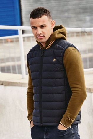 Navy Shower Resistant Tipped Gilet With DuPont Sorona® Insulation