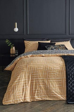 Ochre Dash Geometric Duvet Cover And Pillowcase Set