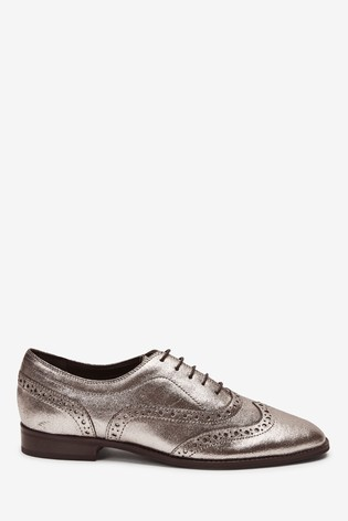 Pewter Signature Forever Comfort® Leather Square Toe Lace-Up Brogues