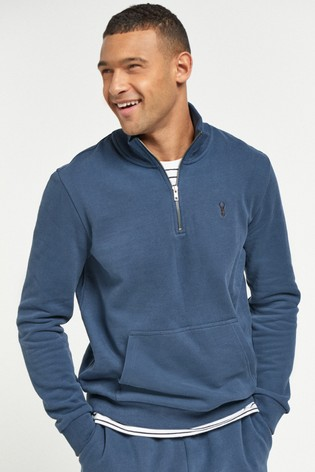 Blue Zip Neck Sweatshirt