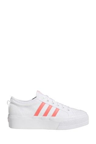 adidas Originals White/Pink Nizza Platform Trainers