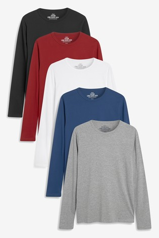 Burgundy Mix Long Sleeve T-Shirts Five Pack