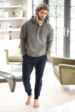 Grey Button Neck Overhead Hoody