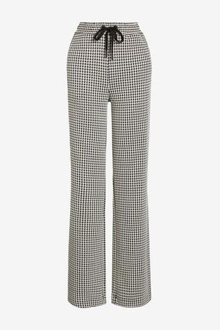 Monochrome Jersey Wide Leg Trousers