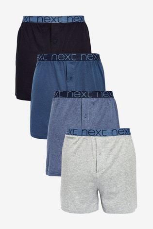 Blue Loose Fit Pure Cotton Four Pack
