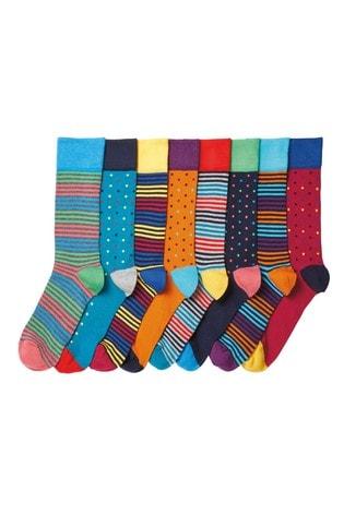 Bright Stripe Spot 8 Pack Pattern Socks