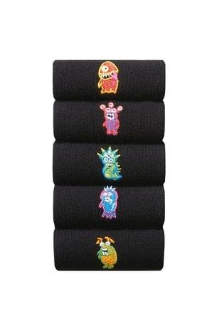 Black Bright Monster Embroidered Socks 5 Pack