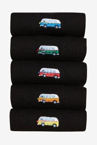 Black Camper Van Embroidered Socks 5 Pack