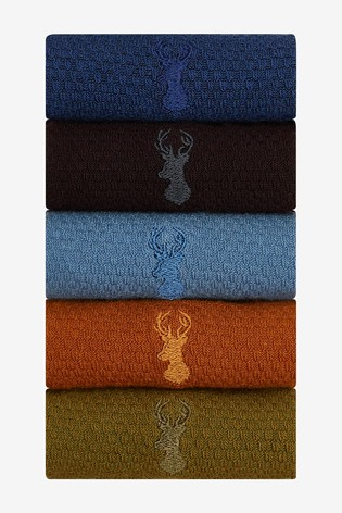 Rich Textured Stag Colour Socks Five Pack